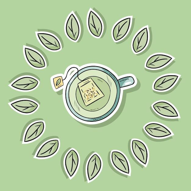 Eco Przyjazny Plakat Spa Z Zielonej Herbaty Premium Wektorów