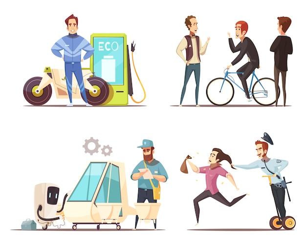 Eco transport concept zestaw ikon cartoon Darmowych Wektorów