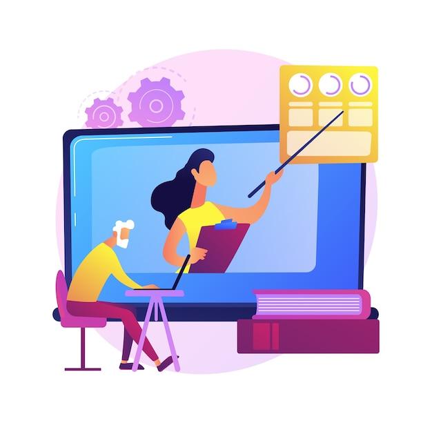 Edukacja Dla Osób Starszych. Starsza Para Osób Oglądających Kursy Online Na Laptopie, Uzyskując Stopień Naukowy. Seminarium Internetowe, Seminarium Internetowe. Darmowych Wektorów