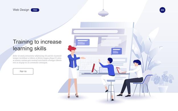 Edukacja dla strony internetowej i szablonu strony docelowej. edukacja online, szkolenia i kursy, nauka, Premium Wektorów
