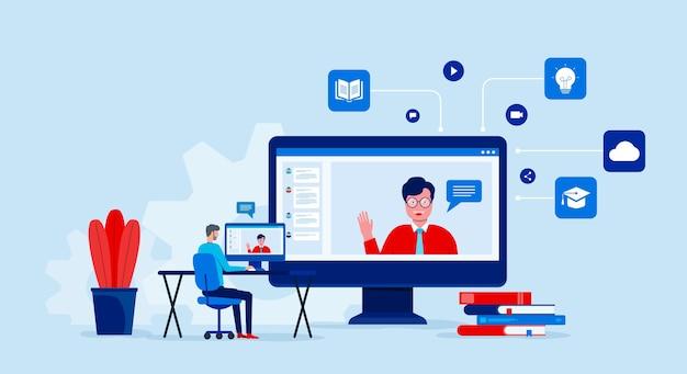 Edukacja I Nauka Online Z Wideokonferencją I Spotkaniami Online Premium Wektorów