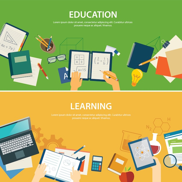 Edukacja i nauka szablon transparent płaska konstrukcja Premium Wektorów