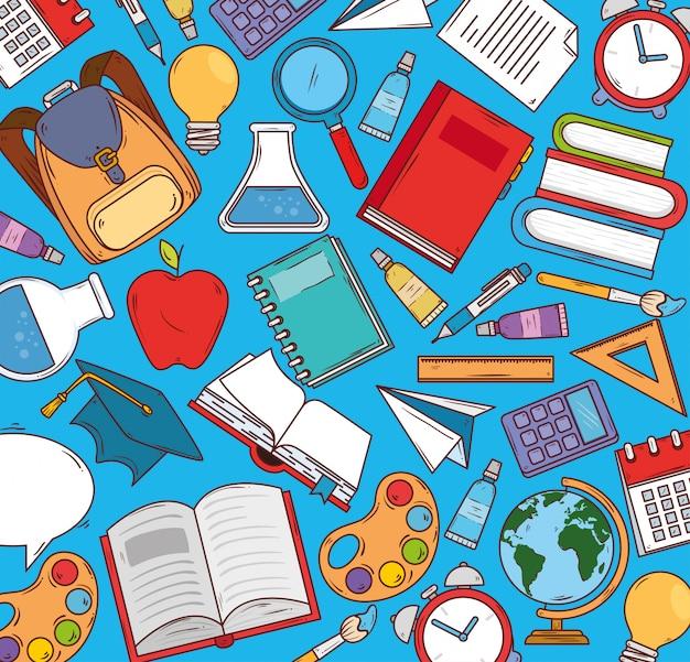 Edukacja I Przybory Szkolne, Projektowanie Ilustracji Wektorowych Premium Wektorów