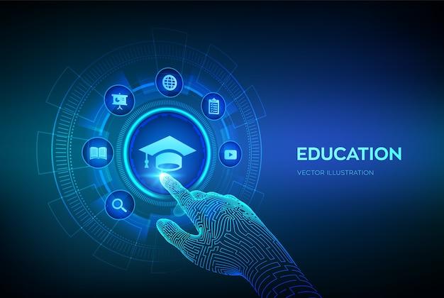 Edukacja. Innowacyjna Koncepcja E-learningu Online. Webinar, Wiedza, Szkolenia Online. Robotyczna Ręka Dotykająca Interfejsu Cyfrowego. Premium Wektorów