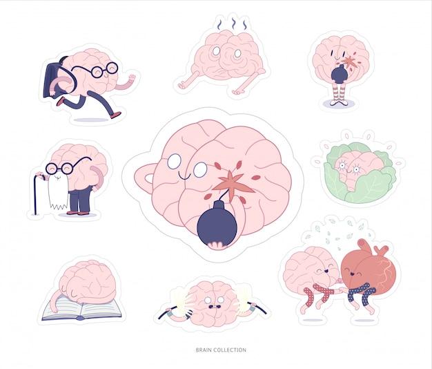 Edukacja naklejek mózgowych i zestaw do drukowania naprężeń Premium Wektorów