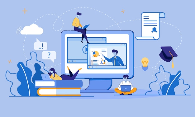 Edukacja online i e-learning za pośrednictwem urządzenia cyfrowego Premium Wektorów