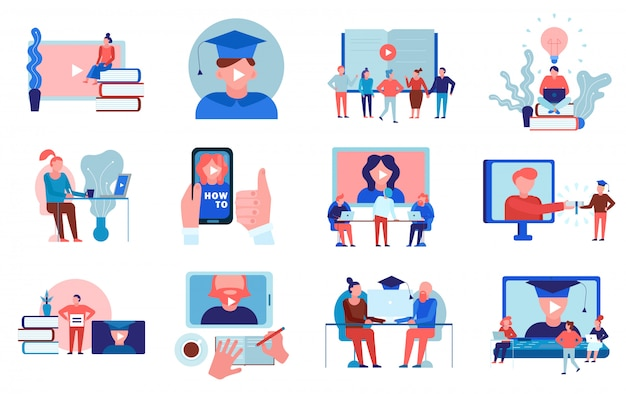 Edukacja Online Instruktaż Wideo Instruktaż Językowy Uniwersytet Kolegium Certyfikowane Kursy Programy Kolekcja Elementów Płaskich Na Białym Tle Darmowych Wektorów