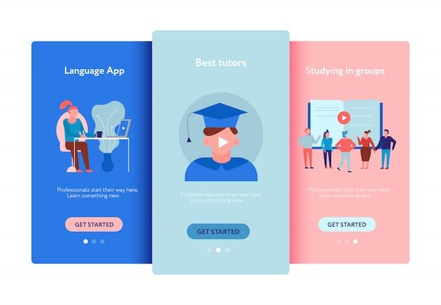 Edukacja Online Kursy Językowe Aplikacje Szkolenia Grupowe Korepetytorzy Oferują Reklamy Płaskie Ekrany Smartfonów Darmowych Wektorów