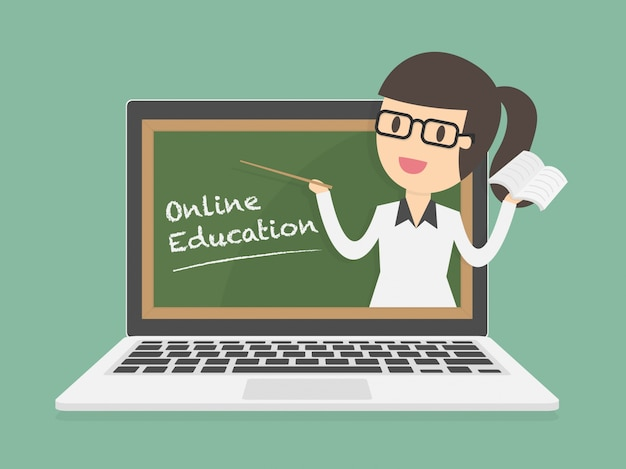 Edukacja online na laptopie Darmowych Wektorów