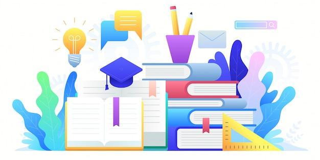 Edukacja Online, Szkolenia, Kształcenie Na Odległość I Edukacja Globalna. Premium Wektorów