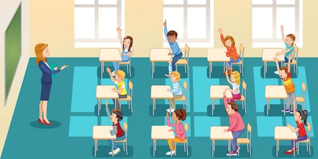 Edukacja, Szkoła Podstawowa, Nauka I Ludzie, Dzieci W Szkole Grupowej Z Nauczycielem Siedzącym W Klasie I Podnoszącym Ręce Premium Wektorów