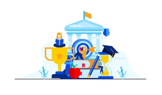 Edukacja Uniwersytecka Z Postaciami Mini Ludzi. Premium Wektorów