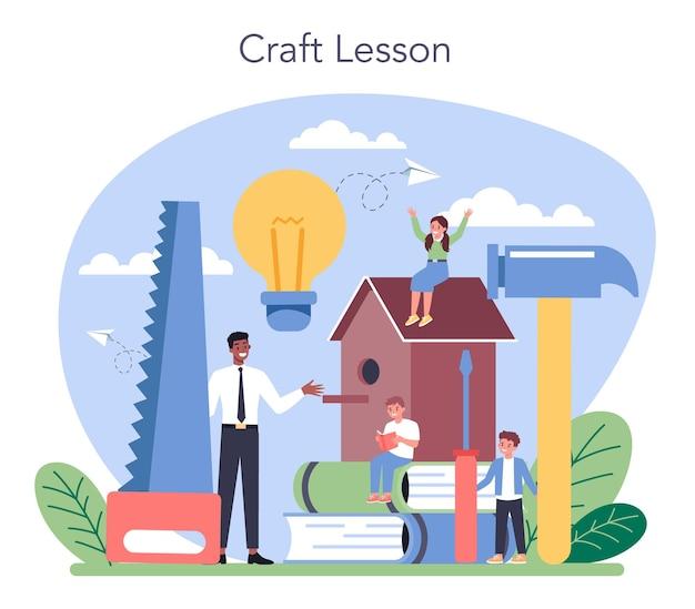 Edukacja W Szkole Artystycznej. Student Posiadający Narzędzia Artystyczne. Nauczyciel Uczy Dzieci Rzemiosła. Modelowanie, Rzeźbienie I Szycie. Premium Wektorów