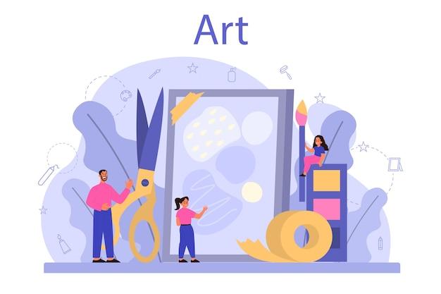 Edukacja W Szkole Artystycznej. Student Posiadający Narzędzia Artystyczne. Premium Wektorów