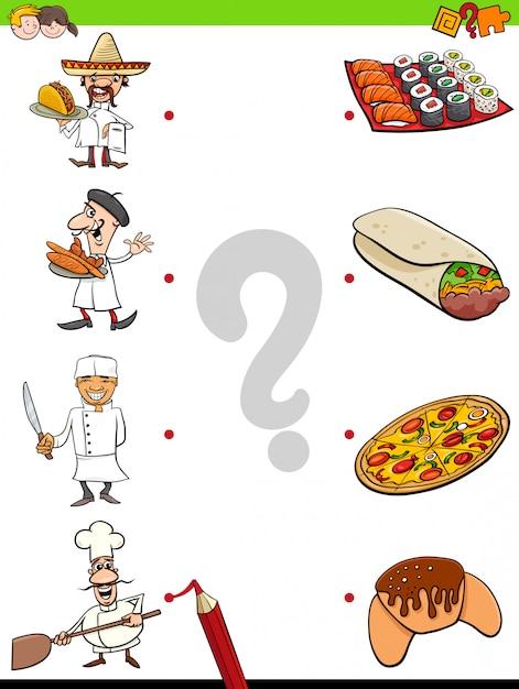 Edukacyjna Gra Dopasowująca Z Szefami Kuchni I Jedzeniem Premium Wektorów
