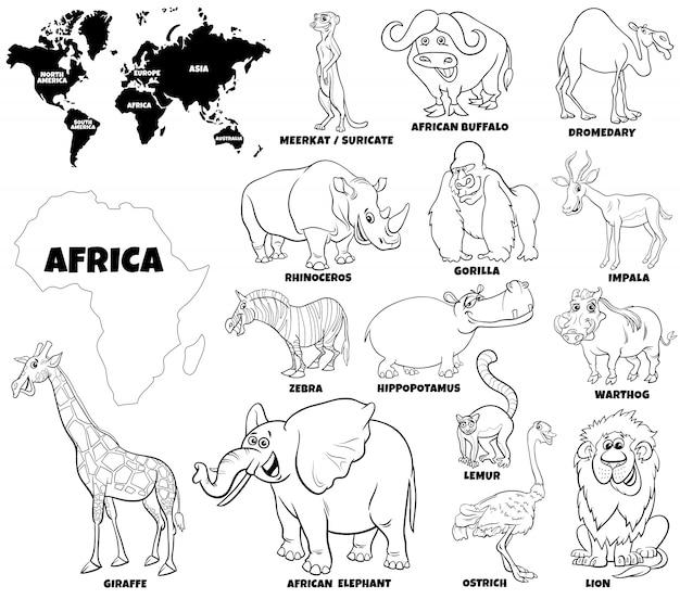 Edukacyjna Ilustracja Afrykańska Strona Koloru Książki Premium Wektorów