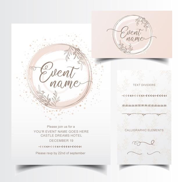 Edytowalne zaproszenie i projekt wizytówki z ręcznie rysowane dzielniki tekstu Premium Wektorów