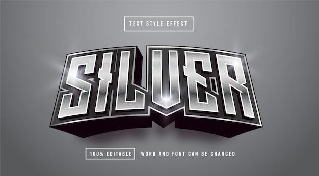 Edytowalny Efekt Stylu Tekstu Dark Silver Premium Wektorów