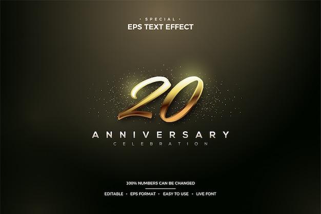 Edytowalny Efekt Stylu Tekstu Z Błyszczącą Złotą Liczbą 20. Premium Wektorów