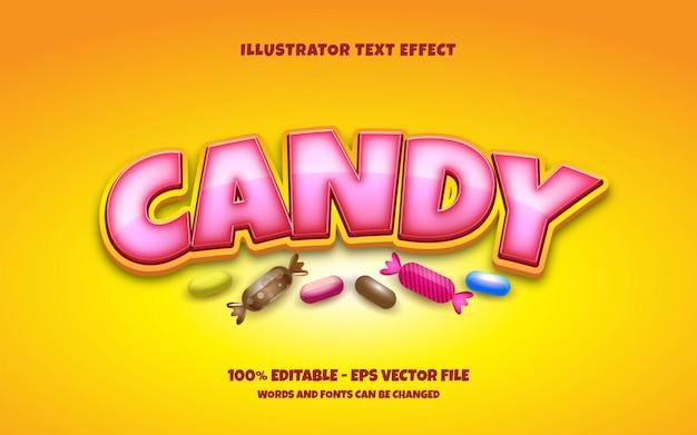 Edytowalny Efekt Tekstowy, Ilustracje W Stylu Candy Premium Wektorów