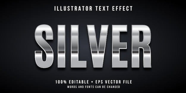 Edytowalny Efekt Tekstowy - Srebrny Styl Premium Wektorów
