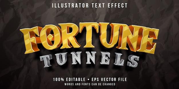 Edytowalny Efekt Tekstowy - Styl Gry W Tunelu Poszukiwania Złota Premium Wektorów