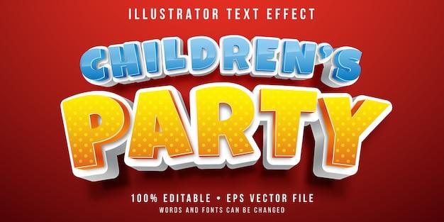 Edytowalny Efekt Tekstowy - Styl Imprezowy Dla Dzieci Premium Wektorów