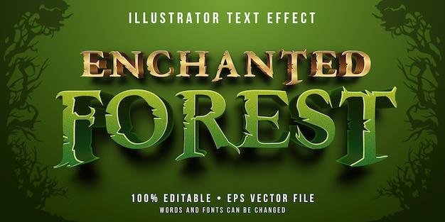 Edytowalny Efekt Tekstowy - Zaczarowany Styl Lasu Premium Wektorów