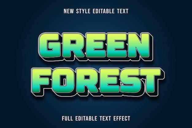 Edytowalny Efekt Tekstowy Zielony Las Kolor żółty Zielony I Granatowy Premium Wektorów