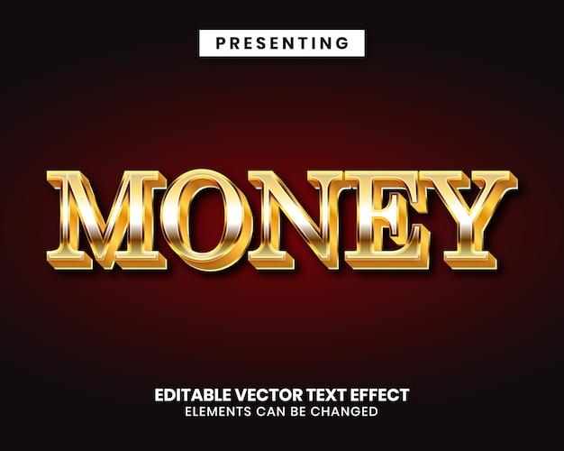 Edytowalny Styl Tekstu Z Efektem Złotego Pieniądza Premium Wektorów