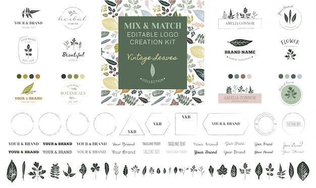 Edytowalny zestaw do tworzenia logo - kolekcja vintage leaves Premium Wektorów