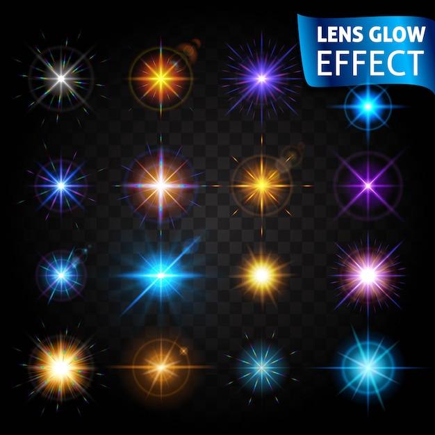 Efekt Blasku Obiektywu. Duży Zestaw Efektów świetlnych. Efekt Soczewki, Blask Słońca, Jasne światło. Premium Wektorów