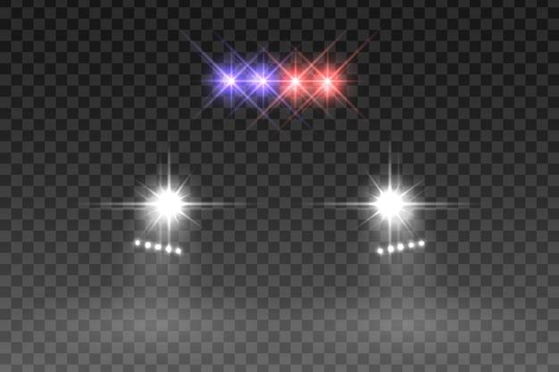 Efekt błysku światła samochodu na przezroczystym tle. ilustracji wektorowych. Premium Wektorów