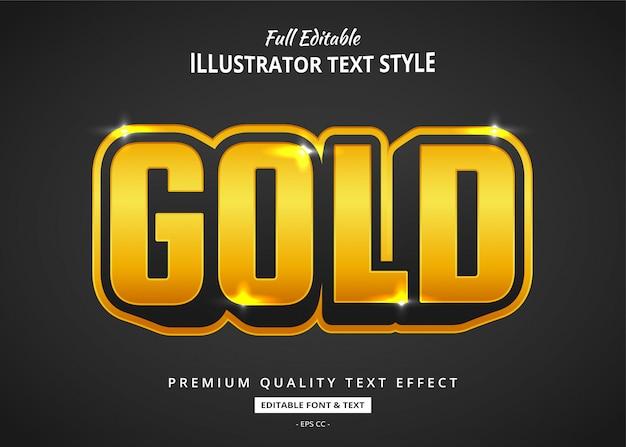 Efekt Cartoon Złoty Tekst Premium Wektorów