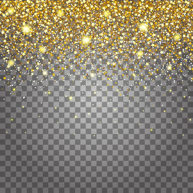 Efekt Latających Części Złoty Brokat Luksusowy Bogaty Wzór Tła. Jasnoszare Tło Dla Efektu. Gwiezdny Pył Wywołuje Eksplozję Na Przezroczystym Tle Premium Wektorów