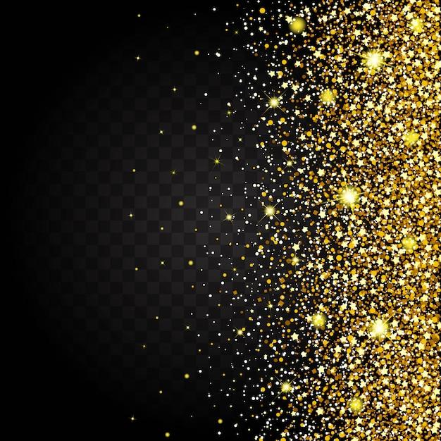 Efekt Latania Od Strony Złotego Połysku, Luksusowego, Bogatego Tła. Ciemne Tło Gwiezdny Pył Wywołuje Eksplozję Na Przezroczystym Tle. Luksusowe Złote Tekstury Premium Wektorów