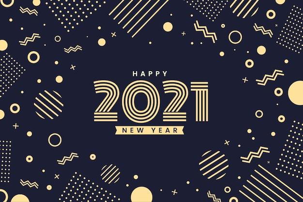 Efekt Memphis Złoty Szczęśliwego Nowego Roku 2021 Premium Wektorów
