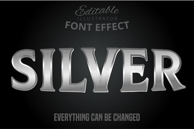 Efekt Metalicznego Srebra, Błyszczący Srebrny Alfabet Premium Wektorów