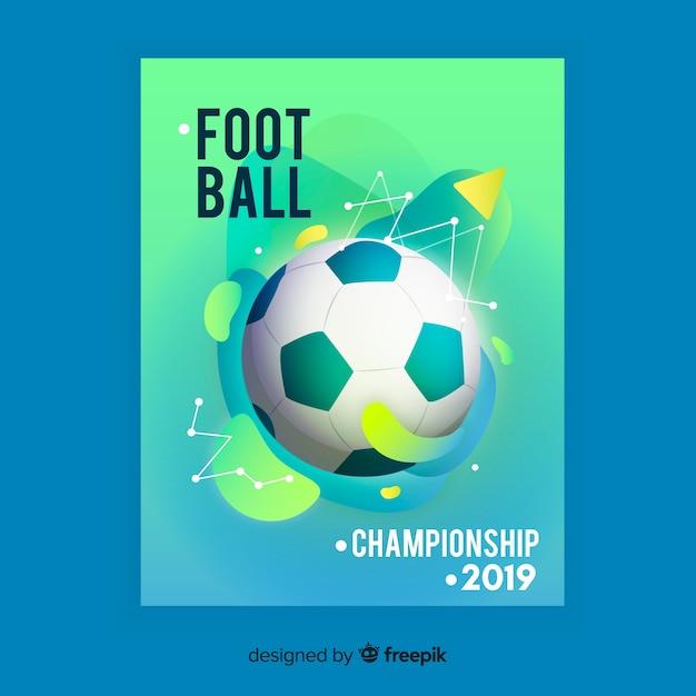 Efekt płynny plakat szablon piłki nożnej Darmowych Wektorów