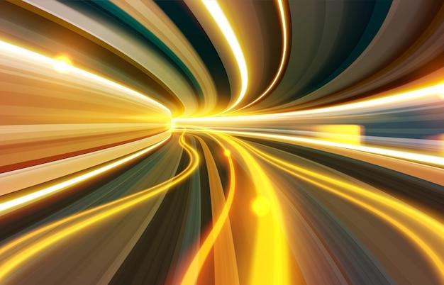 Efekt Spowolnionej Migawki Przez Tunel Czasoprzestrzenny Premium Wektorów