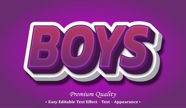 Efekt Stylu Czcionki Chłopców Premium Wektorów