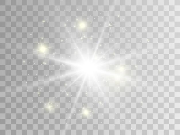 Efekt świetlny Blasku. Gwiazda Wybuchła Iskierkami. Premium Wektorów