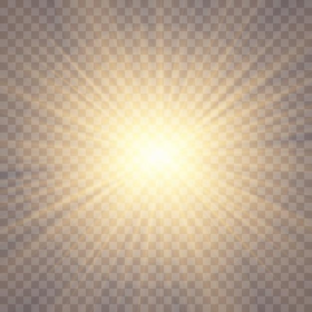 Efekt świetlny. gwiazda, blask, światło słoneczne. Premium Wektorów