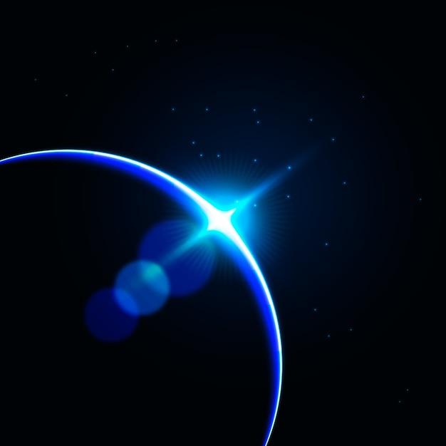 Efekt świetlny niebieski wschód słońca ziemi Darmowych Wektorów