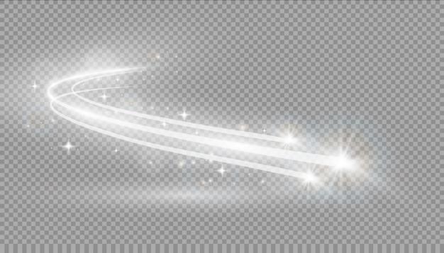 Efekt świetlny, światło Gwiazd, Gwiezdny Pył. świecące światło. Szlak. Kometa. Premium Wektorów