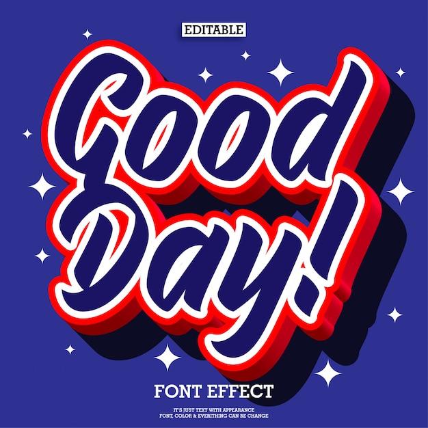 Efekt tekstowy 3d pop dzień dobry dla elementu projektu plakatu Premium Wektorów