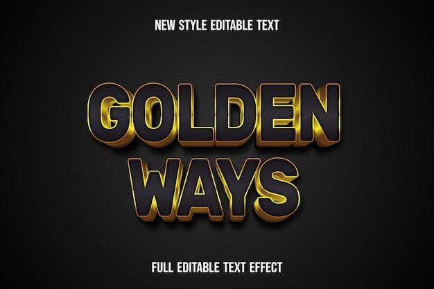Efekt Tekstowy 3d Złote Drogi Kolor Czarny I Złoty Premium Wektorów