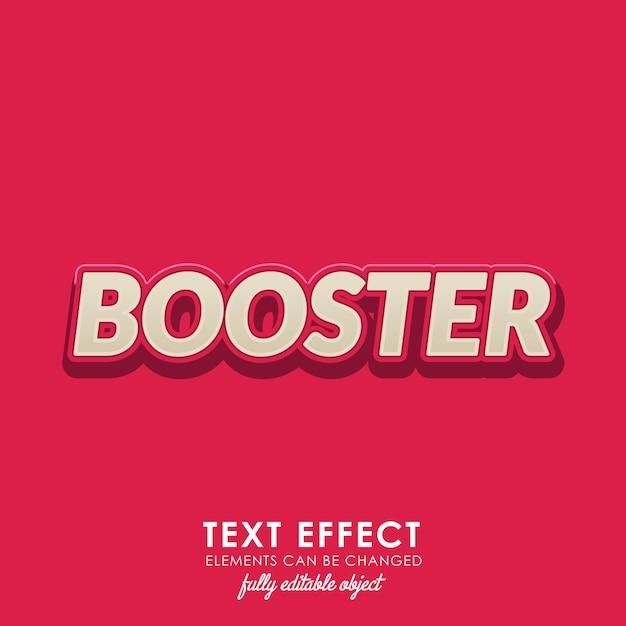 Efekt Tekstowy Booster Z Odważnym, 3d Design I ładnym Czerwonym Motywem Premium Wektorów