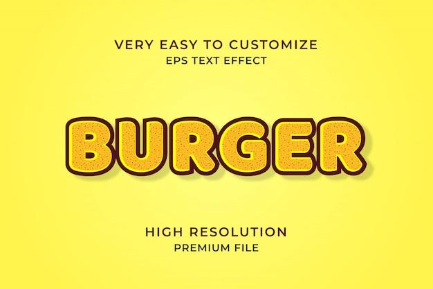 Efekt Tekstowy Burger 3d Premium Wektorów