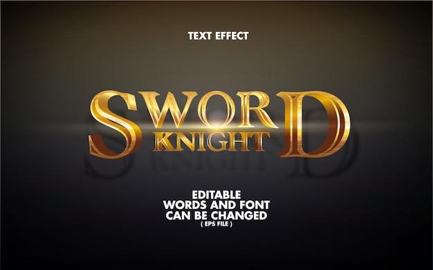 Efekt Tekstowy Edytowalne Słowa Sword Knight Premium Wektorów